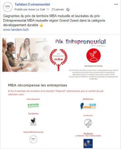 Lauréates prix entrepreneuriat catégorie développement durable